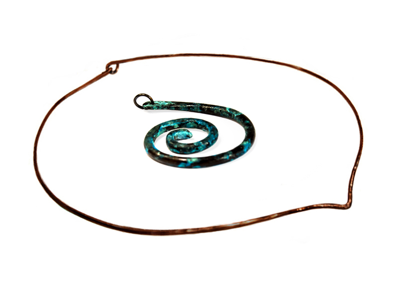 handcrafted copper wire spiral pendants