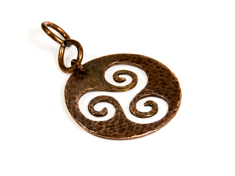 copper saw-pierced pendants