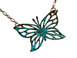 Copper Necklaces Teal Butterfly
